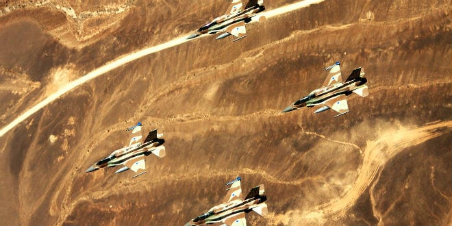 """Sufa"" planes, also known as F-16I, flying in formation. (Photo: IDF)"