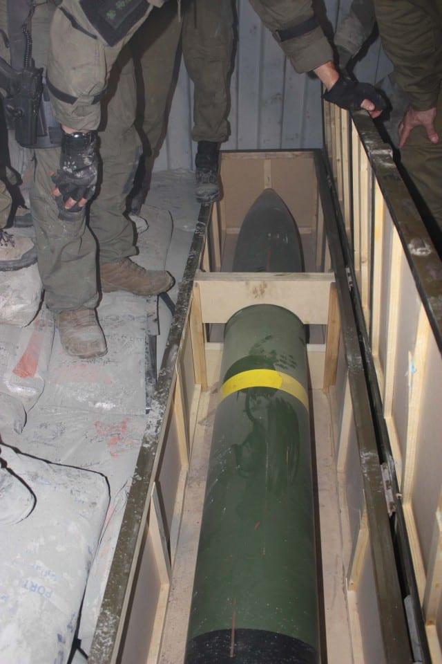 Iranian missile found on board the Klos C, a ship that was intercepted by the IDF bound for Hamas. (Photo: IDF Blog)