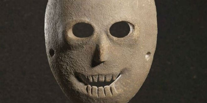 Mask decorated with paint, Nahal Hemar Cave, Judean Desert, Pre-Pottery Neolithic B, 9,000 years old. (Photo: Elie Posner/Israel Museum, Jerusalem)