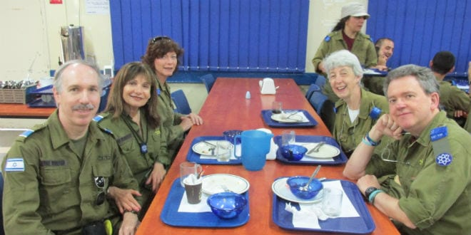 Volunteering at the Sar-El army base. (Photo: Courtesy)