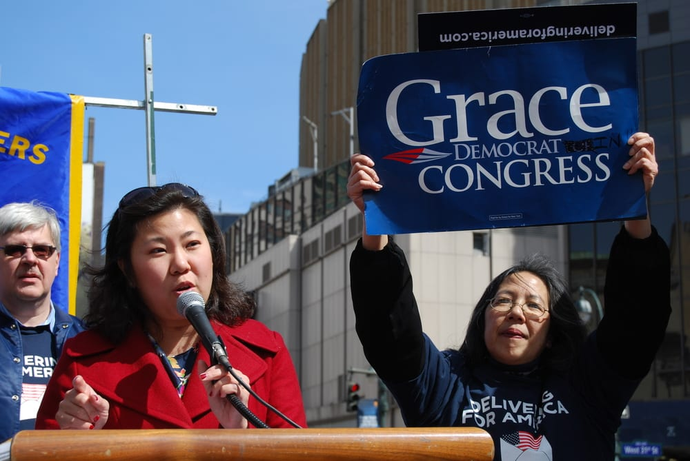 U.S. Rep. Grace Meng (D-NY) speaks at a rally organized by the National Association of Letter Carriers in March 2013. Meng is one of the legislators tackling the issue of the U.S.-Israel visa dispute head on. (Photo: Thomas Altfather Good/ Wikimedia Commons)