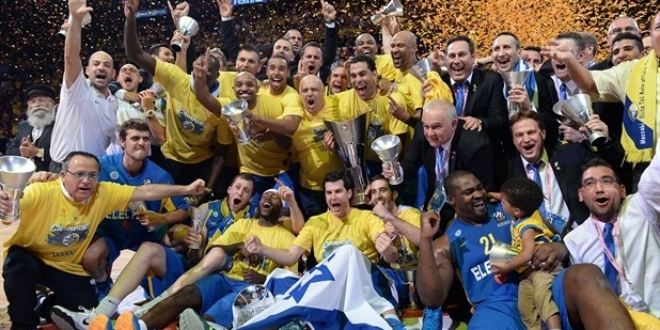 Maccabi Electra Tel Aviv celebrate their win. (Photo: Euroleague)