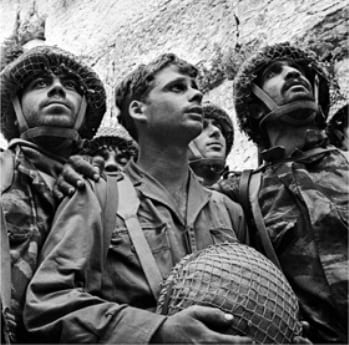 Israeli paratroopers visiting the Western Wall after the liberation of Jerusalem in 1967.