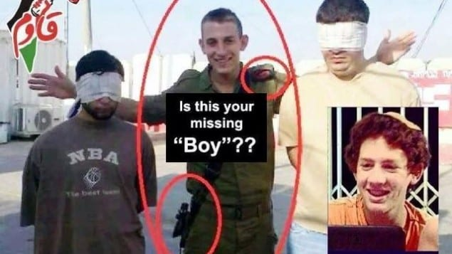 "Viral Palestinian image comparing abducted Israeli teen Naftali Frenkel with ""Big Brother"" contestant Itai Wallach. (Photo: Facebook)"