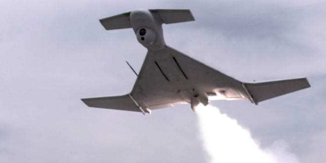 The Harop UAV immediately after launch. (Photo: Screenshot)