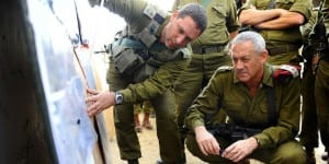 IDF Chief of Staff Lt. Gen. Benny Gantz in a situational assessment with senior IDF officers. (Photo: IDF)