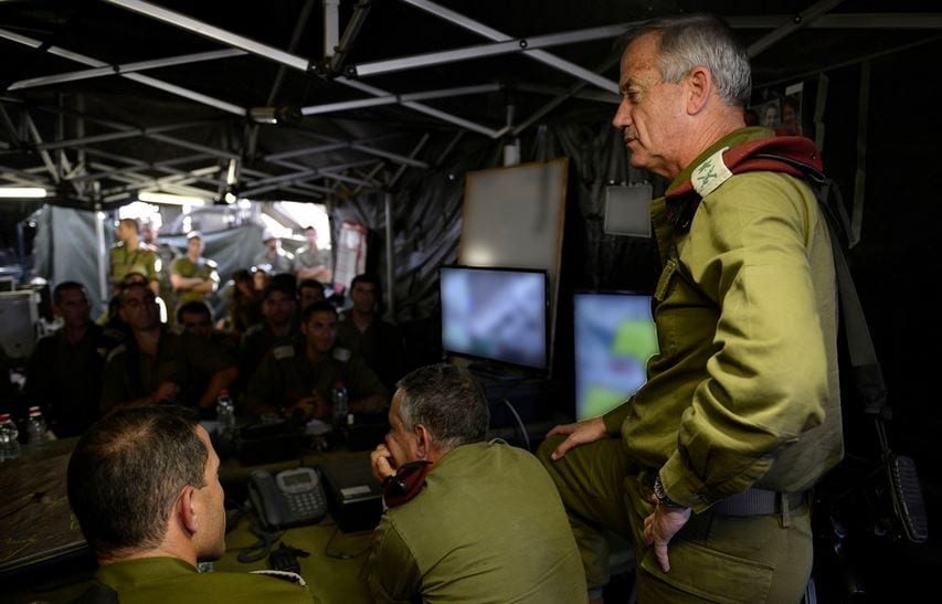 IDF Chief of Staff Lt. Gen. Benny Gantz at Regional Brigade Headquarters, speaking with soldiers looking for the three kidnapped teens as part of Operation Brother's Keeper, June 18, 2014. (Photo: IDF Flicker)