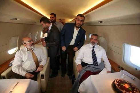 Ismail Haniyeh on his private plane on the way to Qatar at the onset of Operation Protective Edge.