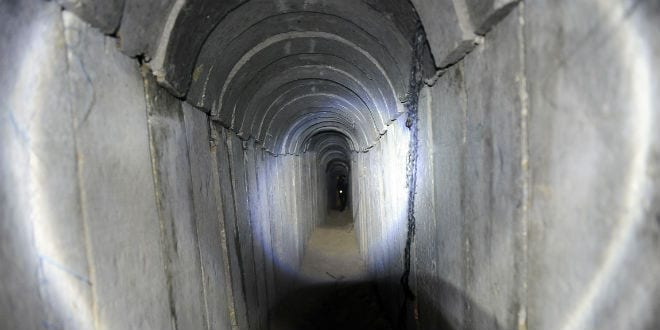 A view of a tunnel reportedly dug by Palestinians beneath the border between the Gaza Strip and Israel uncovered by Israeli troops, on October 13, 2013. (Photo: David Buimovitch/Flash90)