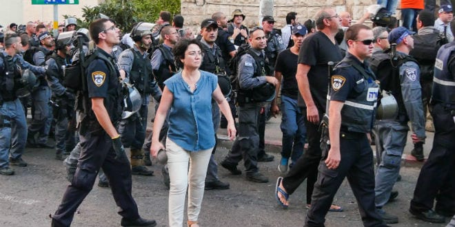 Arab MK Hanin Zoabi, takes part in a protest against the attacks on Gaza in Haifa on July 18, 2014.  (Photo: Flash90)