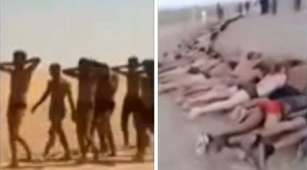 These screenshots from a video released by ISIS shows Syrian forces being led to their execution.