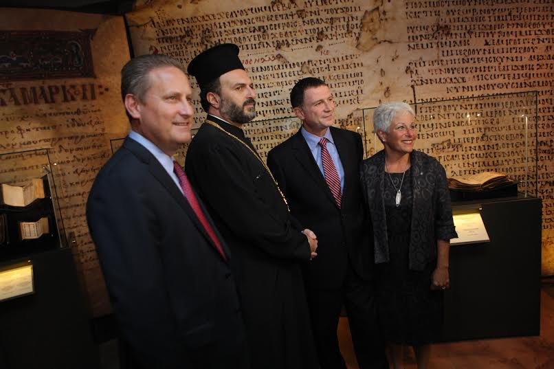 Steve Green, Father Gabriel Nadaf, MK Yudi Edelstein and Amanda Weiss at the ceremony. (Photo: Eliran Malka)