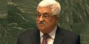 PA President Mahmoud Abbas addressing the UN General Assembly. (Photo: YouTube Screenshot)