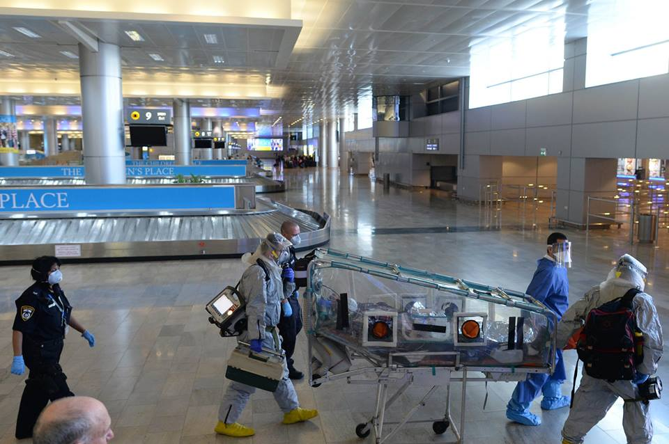 Israeli health officials taking part in a drill at Ben Gurion Airport to prepare for a possible Ebola outbreak. (Photo: GPO)