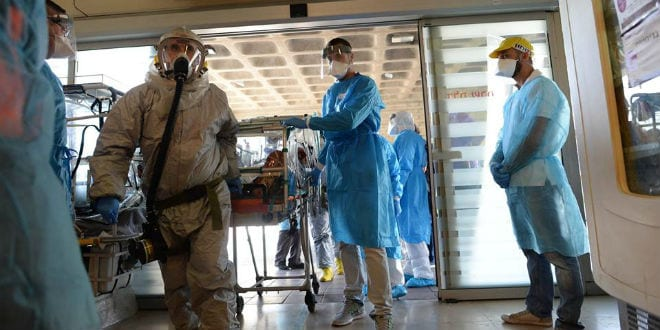 Israeli health officials taking part in a drill to prepare for a possible Ebola outbreak. (Photo: GPO)