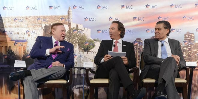 Sheldon Adelson (L) and Haim Saban (R) at the Israeli American Council conference. (Photo: IAC Facebook)