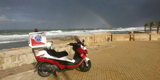 A United Hatzalah ambucycle can reach people in distress on an average of 90 seconds. (Photo: United Hatzalah Facebook)