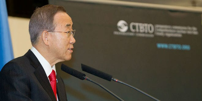 "UN Secretary General Ban Ki-moon announced that the ""State of Palestine"" will officially join the ICC starting on April 1, 2015. (Photo: CTBTO)"
