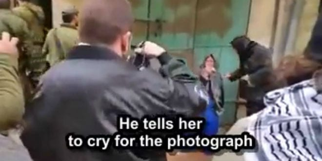 A Palestinian woman in Hebron seen crying for the cameras of leftist journalists. (Photo: Video Screenshot)