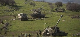 Israeli artillery seen preparing to strike back into southern Lebanon, following an Israeli army patrol coming under anti-tank fire from Hezbollah operatives in the northern Mount Dov region along the Israeli border with Lebanon on January 28, 2015, injuring seven soldiers. IDF positions in the area, as well as on nearby Mount Hermon, were hit with mortar shells for more than an hour. (Photo: Basal Awidat/Flash90)