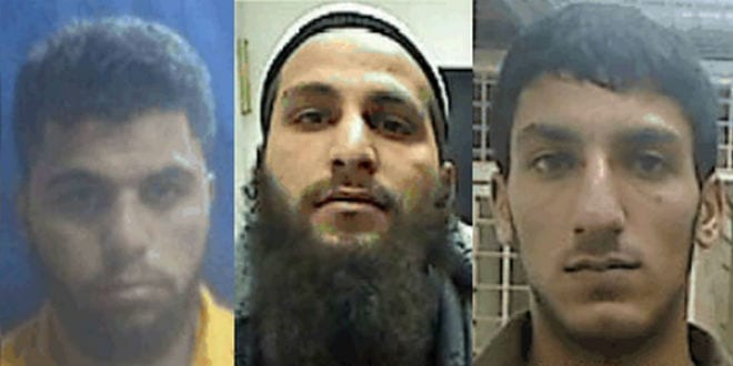 The three suspects belonging to the ISIS terror cell in Hebron: Ahmmad Shehadah (L), Qusai Meswadeh (C) and Muhammad Zerrue (R). (Photo: Shin Bet)