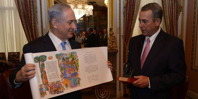 Prime Minister Benjamin Netanyahu met with House Speaker John Boehner, and gave him a scroll of the Book of Esther. House Speaker Boehner gave Prime Minister Netanyahu a bust of Winston Churchill. (Photo: Amos Ben Gershom/ GPO)