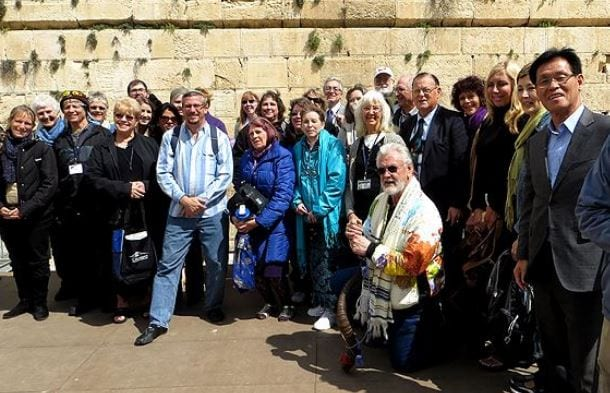 Christian and Jews gather at the Western Wall in Jerusalem to mark a special prayer event coinciding with a solar eclipse on Friday, March 20, 2015.  (Photo: Daystar Burton/ Root Source)
