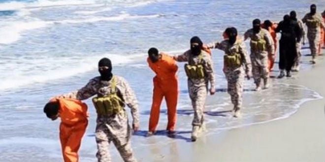 Ethiopian Christians being led by ISIS to their deaths in Libya. (Screenshot)