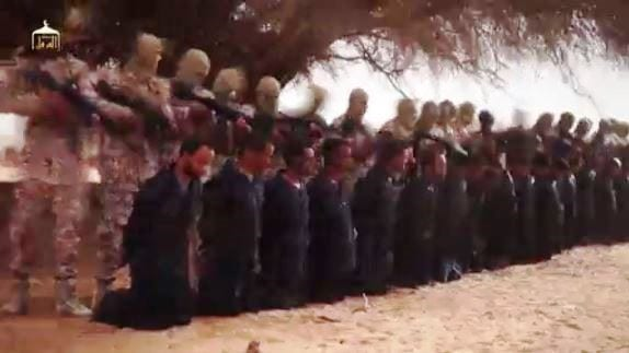 Ethiopian Christians are seen kneeling before ISIS terrorists before being shot to death. (Photo: Screenshot)