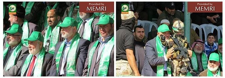 Haniya, and other senior Hamas officials at camps' closing ceremony (Source: Facebook.com/camps.gaza/photos, January 29, 2015)