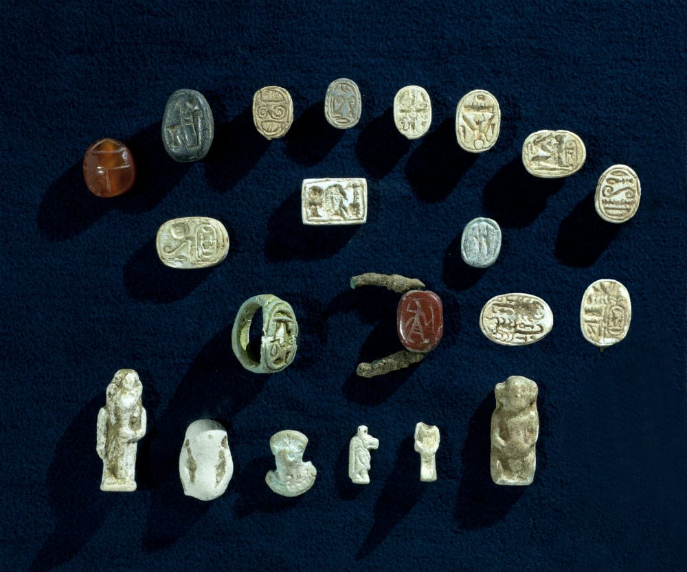 A collection of artifacts with characteristics of the Egyptian culture, which were discovered in the excavation. (Photo: Clara Amit/ Israel Antiquities Authority)