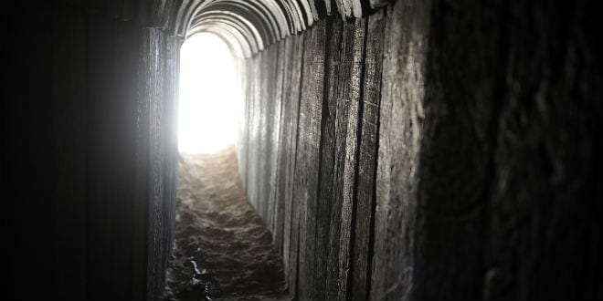 A view of a terror tunnel dug by Palestinian terrorists beneath the border between the Gaza Strip and Israel. (Photo: David Buimovitch/Flash90)