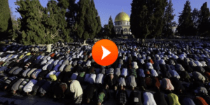 Palestinians perform Eid prayer at the Temple Mount