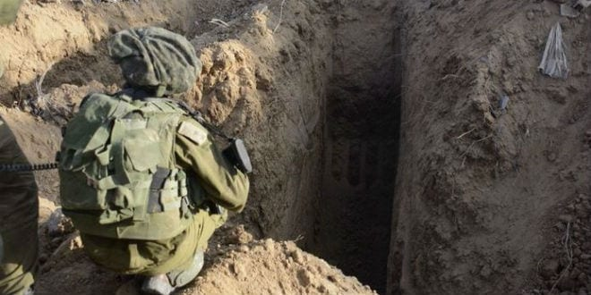 IDF soldiers uncover a Hamas terror tunnel during Operation Protective Edge. (Photo: IDF)