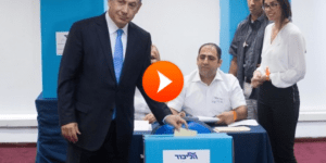 PM Benjamin Netanyahu votes at a polling station in Jerusalem on the method of elections within the Likud party