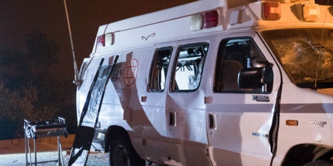 The scene where druze Israeli residents attack Israeli ambulance carrying wounded Syrians near Majdal Shams, in the Golan Heights on June 22, 2015, druze Israeli residents attack Israeli ambulance carrying wounded Syrians Monday night, killing one Syrian and injuring another. (Photo: Basel Awidat/Flash90)