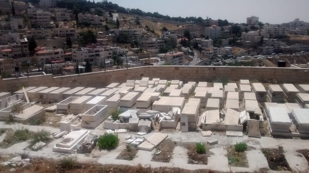 Destroyed tombstones in the Afghanistan Jewish section of the Mount of Olives cemetery. (Photo: Tazpit News Agency)