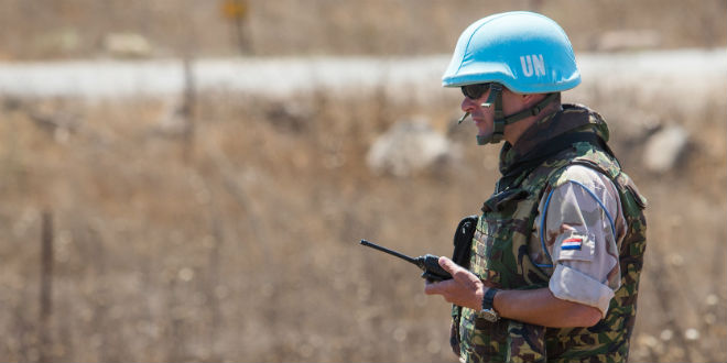A United Nations peacekeeper in the Golan Heights. (Photo: Flash90)
