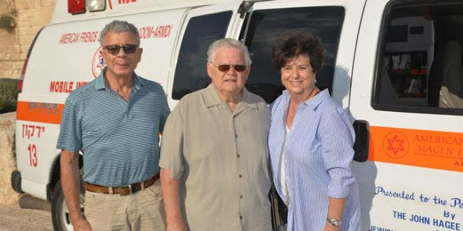 Pastor John Hagee with an MDA ambulance donated by his ministry. (Photo: Heart to Heart)