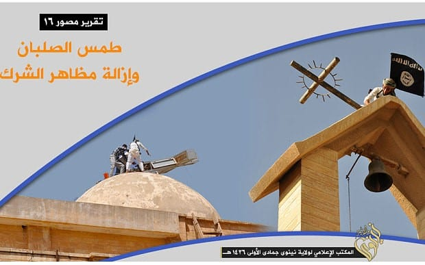 Image from ISIS video: Vandalizing a church in Mosul. (Photo: MEMRI)