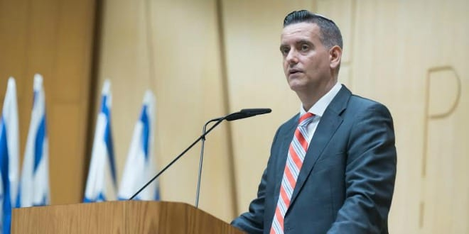 Ashley Perry, president of Reconectar, speaking at the Knesset Caucus for Reconnection with the Descendants of Spanish and Portuguese Communities. (Photo: Jeffrey P. Worthington)