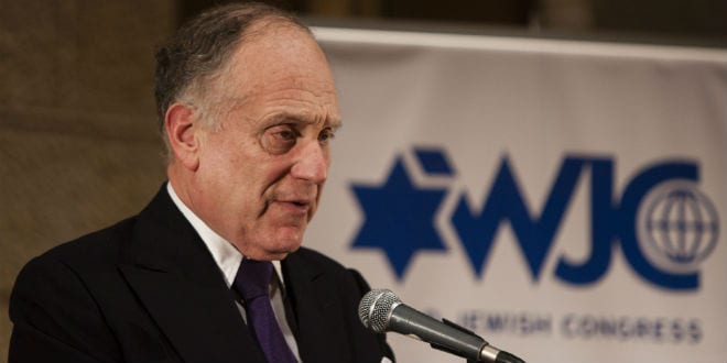 Ronald Lauder speaking before The Executive Committee of the World Jewish Congress in Jerusalem, on October 21, 2013. (Photo: Flash90)