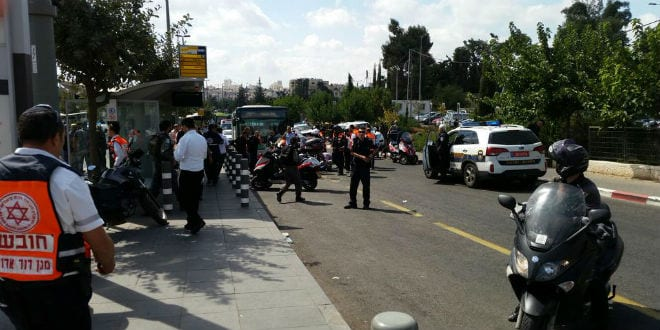 Emergency officials respond to the scene of a stabbing at a Jerusalem light rail station, October 8, 2015. (Photo: Magen David Adom)