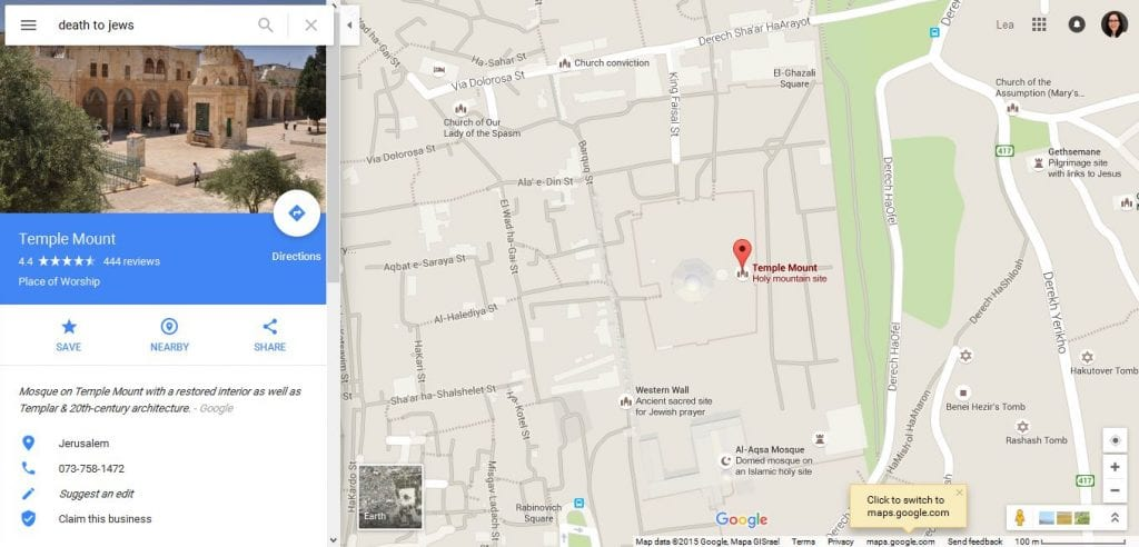 "Screenshot of a search result on Google Maps for ""Death to the Jews"""