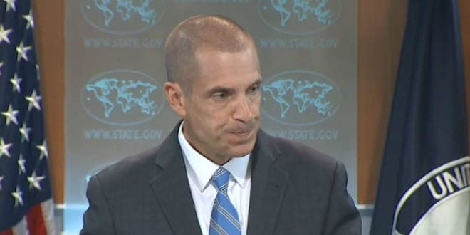 State Department spokesman Mark Toner was visibly flustered by a question about Israel double standards. (Photo: CSPAN)