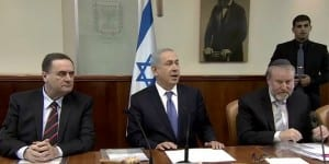 Netanyahu's cabinet meeting. (Photo: YouTube screenshot)