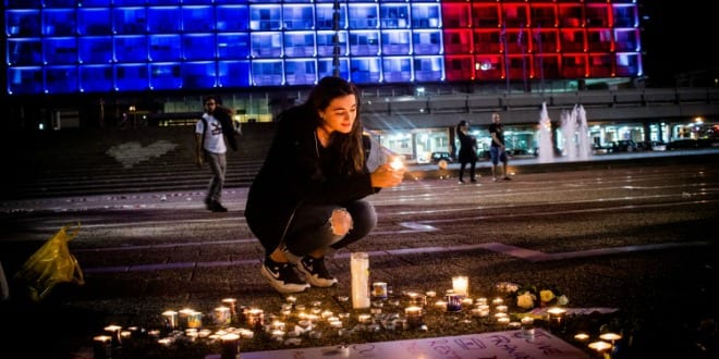Memorial for terrorist attacks, November 19, 2015. (Photo: Kobi Richter/TPS)