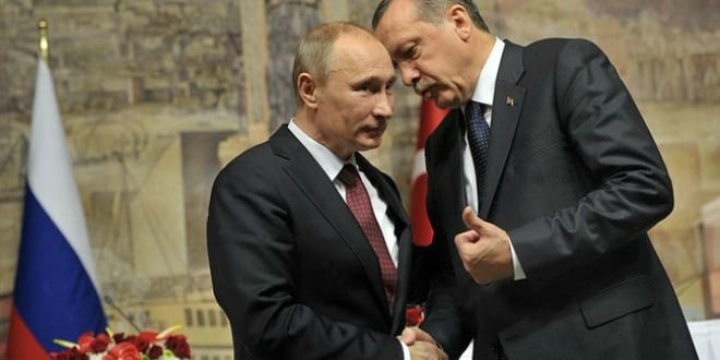 Russian President Vladimir Putin with Turkish Prime Minister Recep Tayyip Erdoğan After news conference following a meeting of High-Level Russian-Turkish Cooperation Council, Istanbul, Turkey. (Photo: Russian Presidential Press and Information Office www.kremlin.ru)