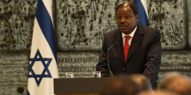 H.E Henry Etoundi Essomba giving a formal address as the Dean of the Diplomatic Corps, at the Presidential Residence. (Photo: Hillel Maeir/TPS)