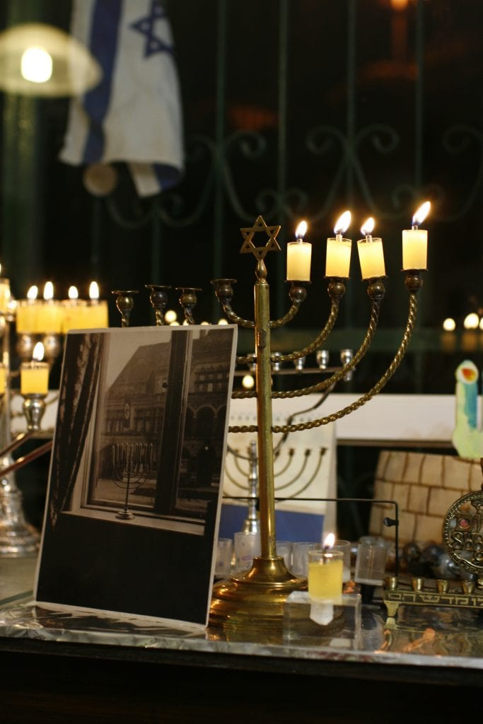 Family menorah that was once lit in Nazi Germany, today lit in Beit Shemesh. (Photo: Anna Rudnitsky/TPS)